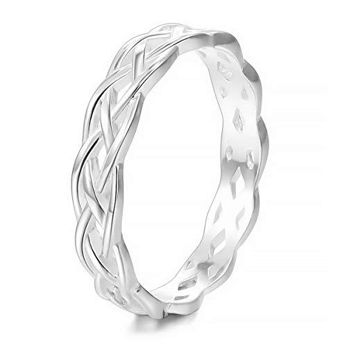MunkiMix 925 Sterling Silber Band Ring Silber Ton Triquetra Irisch Keltisch Knoten Dreiecksknoten Ewigkeit Ewig Hochzeit Lieben Größe 60 (19.1) Damen