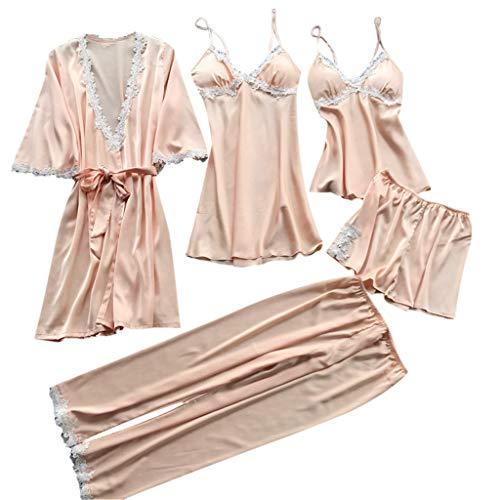 Proumy Conjunto de Pijamas Mujer 5 Piezas Kimono Larga Pijama de Encaje Verano Batas con Calzoncillos...