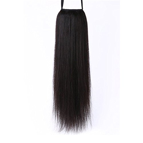 Remeehi, Damen-Pferdeschwanz aus 100 % Echthaar, Clip-In-Haarverlängerung