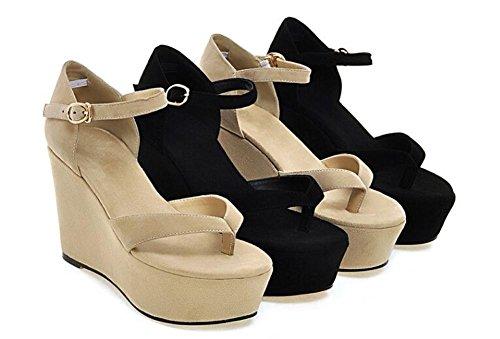 Beauqueen Wedge Lanci & Flop sandali Simple cinturini alla caviglia donne casuali della spiaggia lavoro sandali dell'albicocca nera dell'Europa formato 34-39 Black