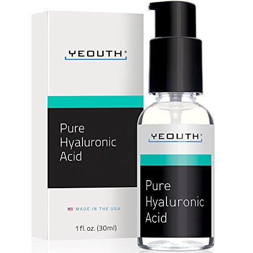 Sérum d'acide hyaluronique pour le visage - Formule de force clinique à 100% de qualité médicale pure!. Détient 1 000 fois son propre poids en eau - repulpe et hydrate - tout naturel par Yeouth