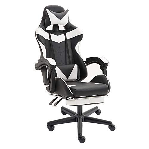 Poltrona girevole sedia direzionale ergonomica da ufficio studio regolabile poggiapiedi imbottito bianco