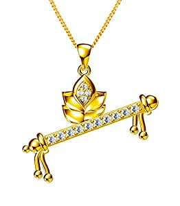 Exxotic Religious Gold Plated Silver Krishna Flute Pendant Jewellery