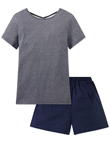 Schiesser Mädchen Anzug kurz' Zweiteiliger Schlafanzug, (Blau 800), 152 (Herstellergröße: S)