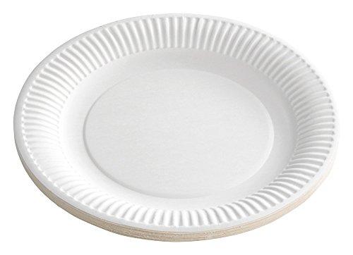 100platos/platos desechables/platos Color Blanco, redondo, diámetro 23cm, respetuoso con el medio ambiente Compostable, versátil de Gastro de requisitos de bien Heil®