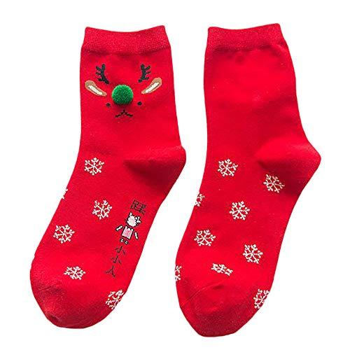 iHAZA Frauen Winter Warmes Rotes Baumwoll Socken Weihnachten -