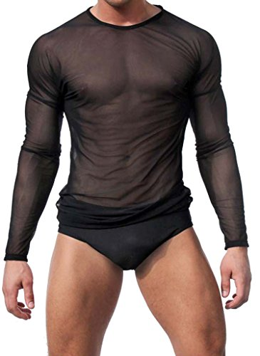 QQKing Men's Sexy Underwear T-shirt Long Sleeve Mesh Top Undershirt Nightwear