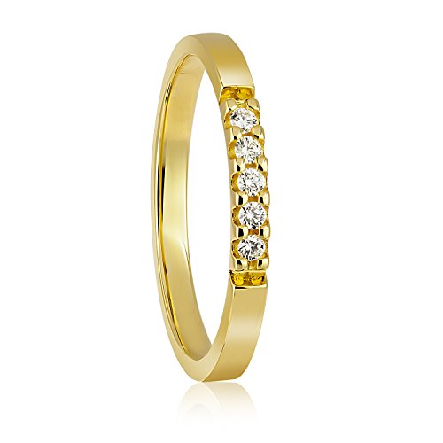 Diamond Line Damen - Ring 375er Gold 5 Diamanten ca. 0,08 ct., gelbgold