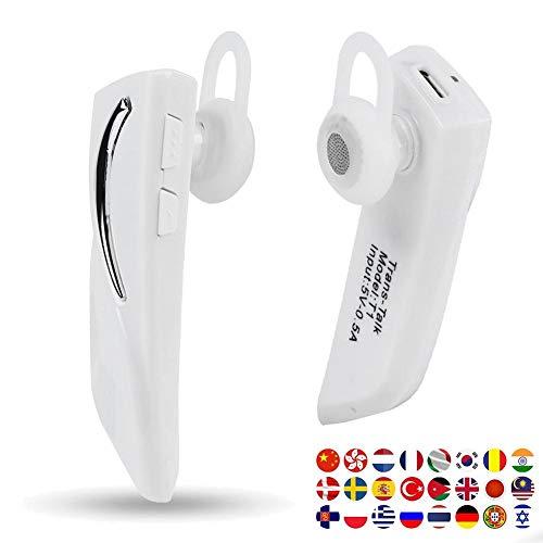 VBESTLIFE Traduttore Auricolare Bluetooth, Auricolare per traduttore Wireless Intelligente, traduzione in-Ear 28 Lingue, per l'apprendimento della riunione d'Affari Shopping Traveling(Bianco)