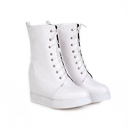 AgooLar Damen Weiches Material Schnüren Rund Zehe Hoher Absatz Niedrig-Spitze Stiefel, Weiß, 34