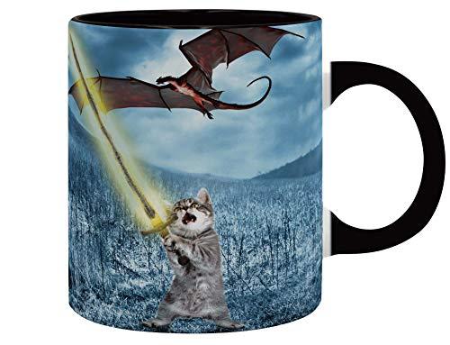 THE GOOD GIFT - Lolcat Colección - Gato contra Dragón Taza - 320 ML - Arthur Penchaton