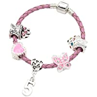 Children's Pink Leather Happy 5th Birthday Charm Bracelet With Lovely Jewellery Hut Gift Pouch - Girl's & Children's Birthday Gift Jewellery