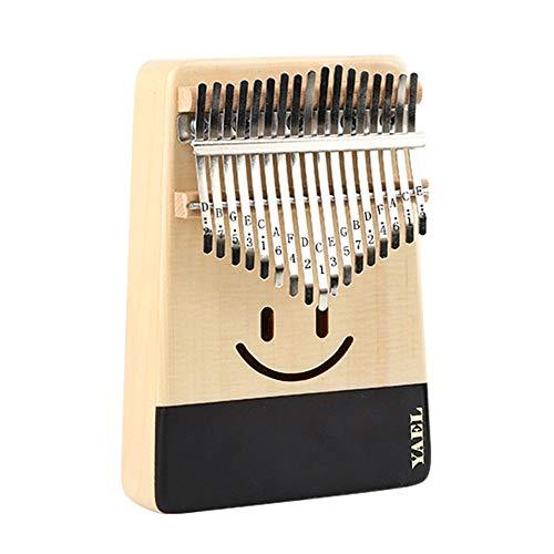 Thumb Piano Marimba Lächeln Gesicht Fichtenholz Daumen Klavier Standard C Melodie 17 Tasten Kalimba Finger Piano Metall Gravierte Notation Zinken mit Stimmhammer Pickup Tragetasche Kinder Musikinstrum