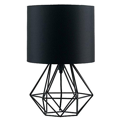 MiniSun Lampe à Poser, Lampe de Table 'Angus' Aspect Rétro. Pied - Panier Géométrique en Noir Satiné & Abat-Jour Tambour en Tissu Noir