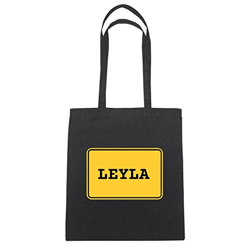 JOllify Leyla di cotone felpato b5623 schwarz: New York, London, Paris, Tokyo schwarz: Ortsschild