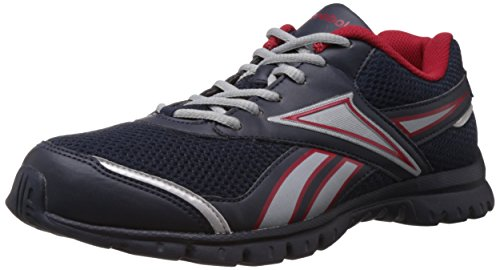 Reebok Men's Round Town Lp Navy, White, Red and Silver Sport Shoes - 9 UK