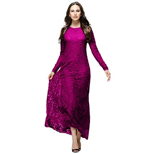 Muslimische Kleider Dame Elegant Kleider Langarm Langes Kleid Schlank Spitzenkleid Doppelschicht Muslimische Kleidung Damen Elegant Moslemischer Abaya Muslim