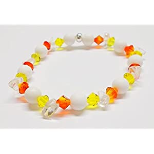 Armband Sonne - glitzernd & elastisch - Swarovski® Kristalle - Polarisperlen - Glasperlen Iced-Optik - gelb orange - 19,5 cm