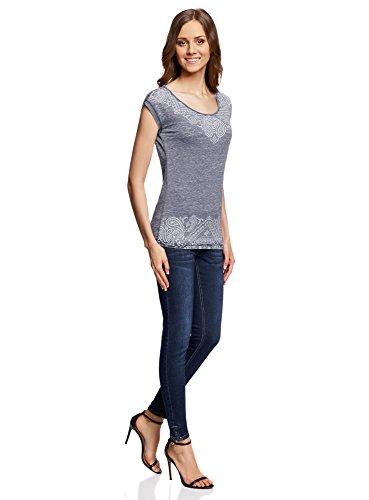 oodji Ultra Damen T-Shirt mit Druck Grau (2370P)