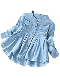 NiñA Invierno Conjuntos Ropa Toddler Kid Baby Girls Denim Camiseta De Manga Larga con Pliegues Tops