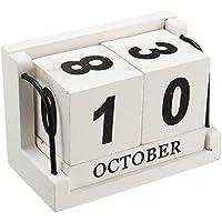 Jeteven Retro Madera Calendario Perpetuo Calendario De Escritorio Bloque De Madera Para La Decoración Del Hogar De La Oficina