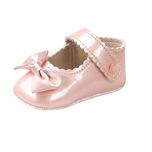 Miyasudy Chaussures Bébé Filles Pu Cuir Princesse Papillon Nœud Mary Jane Plat Shoes 0 - 18 Mois Champagne