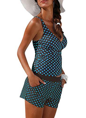 Aleumdr Damen Tankini Set bunt Wellenpunkt Print Mit Bügel Bademode Figurumspielend Tankini Push Up Blau Schwarz XXL -