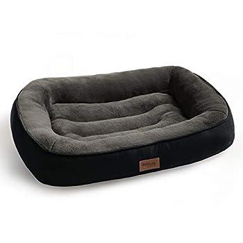 Bedsure Panier Chien Grande Taille en Peluche 110x76x18 cm - Lit pour Chien Anti-dérapant et Lavable - Coussin Chien Ultra-Doux Canapé Chien Noir