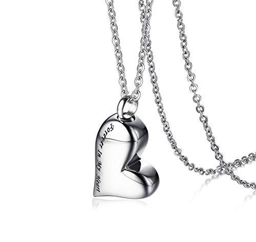 VNOX Cuello en Forma de corazón de Acero Inoxidable para Mujer Cuello en Forma de corazón Forever In My Heart Grabado