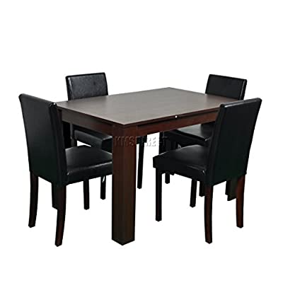 FoxHunter Quality Wooden Dining Table and 4 PU Faux Leather High Back Chairs Set Kitchen Furniture FH-DS04 Walnut produced by KMS - quick delivery from UK.