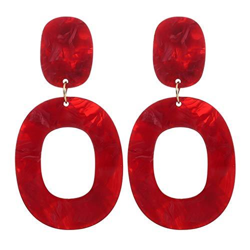 Frauen Mädchen Einfache Retro Kreis Acryl Ohrring-Band Geometric baumeln Ohr-Bolzen-Pin Schmuck Accessoires -