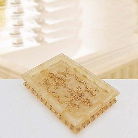 YanCui@ Bagno decorazione Accessori per il bagno Portasapone Portasapone bagno europeo idea perla fiore resina