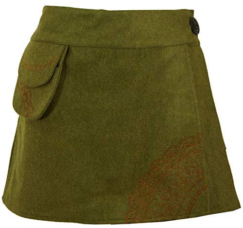 Guru-Shop Goa Wickelrock, Bestickter Cacheur aus Wollfilz, Damen, Grün, Wolle, Size:L (40), Cacheure, Hüftschmeichler Alternative Bekleidung Filz Rock
