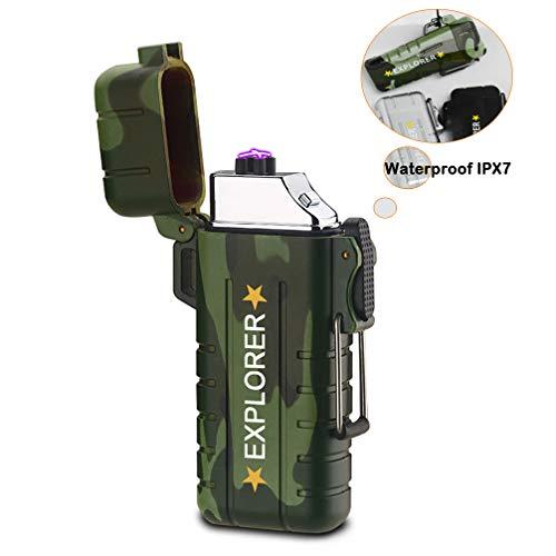 GXSTWU Encendedor eléctrico con USB, Resistente al Viento, Recargable, sin Llama, para Camping, Senderismo, Aventura, Supervivencia al Aire Libre, Barbacoa, HY8039, HY8039Camo