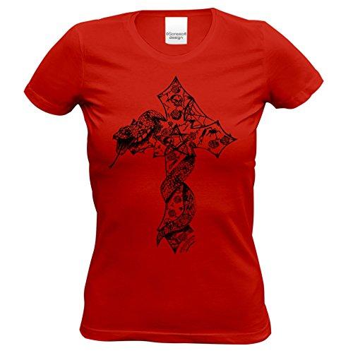 z Schlange : Skull Biker Freizeit Shirt für Frauen Mädchen : Halloween Outift Farbe: Rot Gr: M (Biker Halloween Kostüme Mädchen)