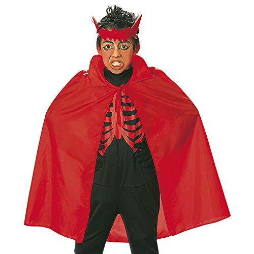 Widmann 3581R, Roter Umhang für Kinder von ca. 6 - 12 Jahre, Länge 90 cm zu Halloween oder ()