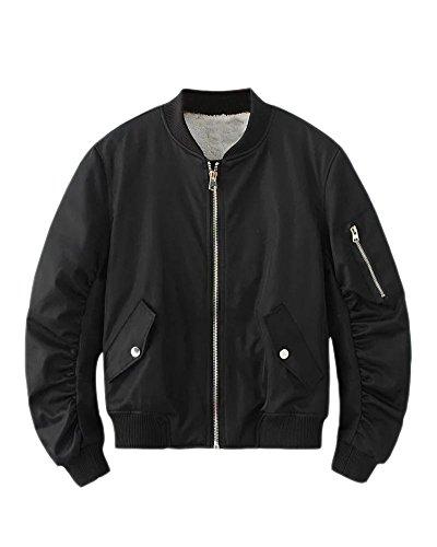 SaiDeng Donna Giacca Corta Cappotto Biker Casuale Moto Bomber Jacket Maniche Lunghe Outerwear Nero M