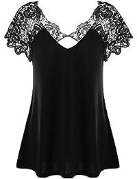 58fb76793e9 MRULIC Summer Autumn Elegant Ladies Womens Fashion V-Neck Plus Size Lace Short  Sleeve Trim Cutwork T…