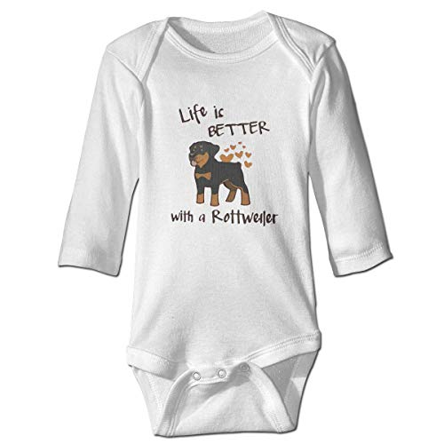 WBinHua Bodysuits Baby Body, Love Life Rottweiler Baby Unisex Long Sleeve Onesies Bodysuits
