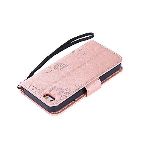 iPhone SE Hülle, iPhone 5S Hülle, iPhone 5 Hülle, iPhone SE 5S 5 Lederhülle, iPhone SE 5S 5 Hülle Brieftasche, BONROY [Premium Leder Serie] Retro Rosen Muster Rosa Handyhülle Schutzhülle PU Leder Flip Rose Gold
