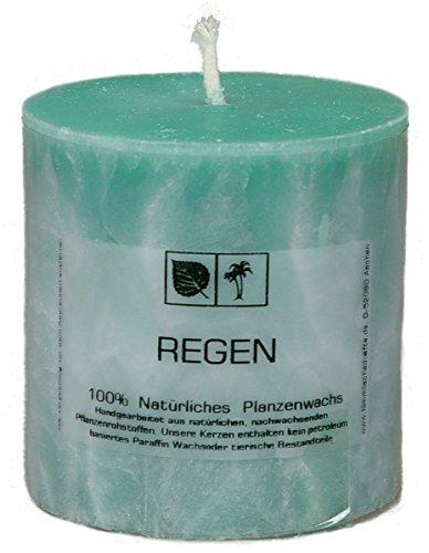 Marmorierte Natur Kerze 7,5 x 7,5 cm aus Pflanzenwachs, Duftnote REGEN, ungebleichter Docht