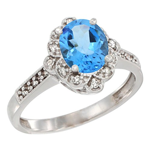 9 ct Weiß Gold Natural Swiss Blue Topaz Ring Oval 8 x 6 mm Floral Diamant Halo, Größen J – T (Floral Natural Blue)