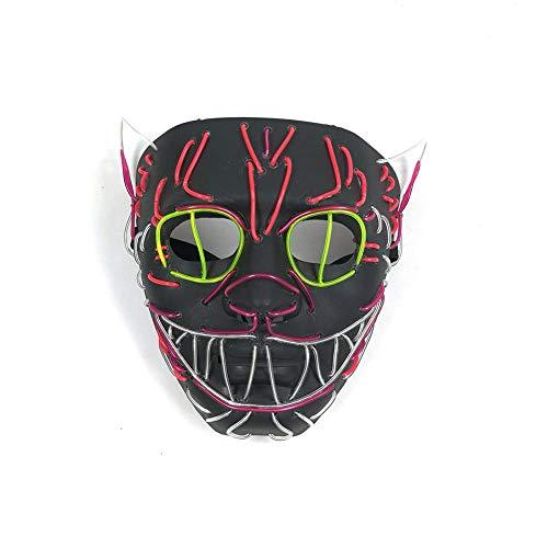 Leuchtende Maske EL Draht Maske Leuchtende Katze Maske Blinkende Cosplay LED Maske Kostüm Anonyme Maske Für Leuchtende Tanz Karneval Party Masken Halloween Dekoration