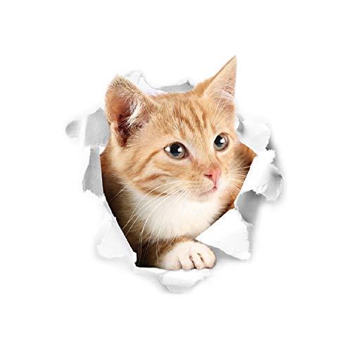 Rocita Engomadas de la Pared del Gato Amarillo Broken Pared Agujero en 3D  de la Pared Sticker Decal Mural Real Life Animales Gatos Vinilo PVC  decoración ... 74be5dbf8a4c