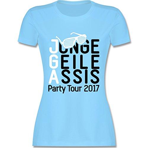 JGA Junggesellinnenabschied - JGA - Junge Geile Assis 2017 - tailliertes Premium T-Shirt mit Rundhalsausschnitt für Damen Hellblau