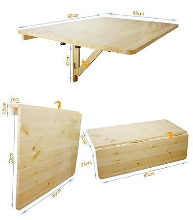SoBuy Tavolo da muro pieghevole in legno 80×60cm,2x pieghevole ...