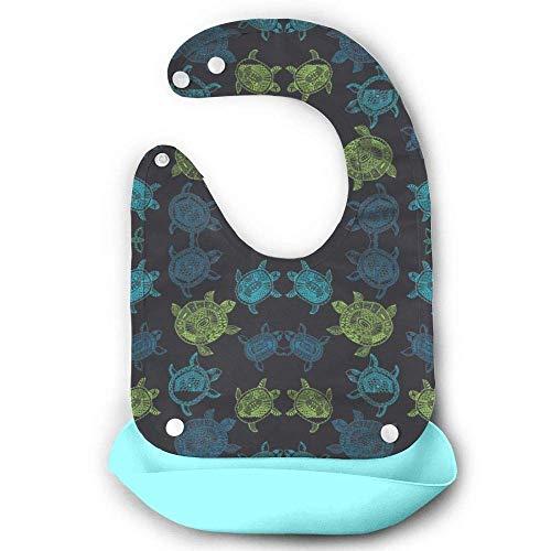 Baby-Lätzchen, wasserfest, mit Tasche, Motiv Meeresschildkröten