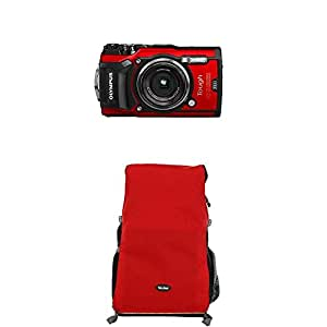 Olympus Tough TG-5 Digitalkamera (12 Megapixel, 25-100mm 1: 2,0 Objektiv, Feld-Sensorsystem, GPS, Manometer, Temperatursensor, Kompass) rot+Rollei Traveler Fotorucksack Canyon L Red