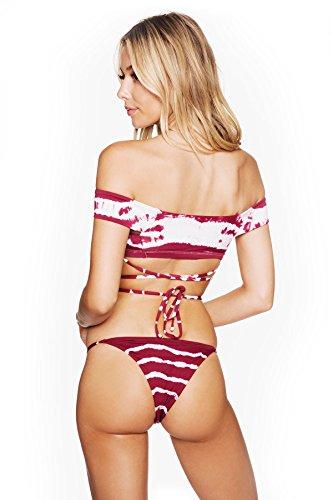 Yiyada Frauen Sexy Strap Zwei-teilige Schulter Print Bikini Badeanzug sexy Split Multi-Seil Bikini Badeanzug Rot