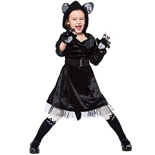 Kostüm Mädchen Black Cat - GLXQIJ 4-6 Jahre Kinder Mädchen Tier Cosplay Kostüm Cute Cat Hooded Jumpsuit Für Halloween Kostüm Bühnenauftritt,Black,S